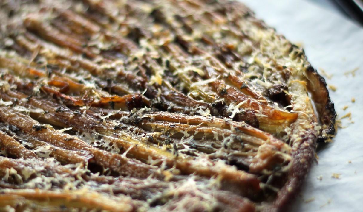 Caramelized Fenland Celery Tarte Tatin with Parmesan & Sage crust 1