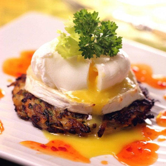 Celery rosti with egg