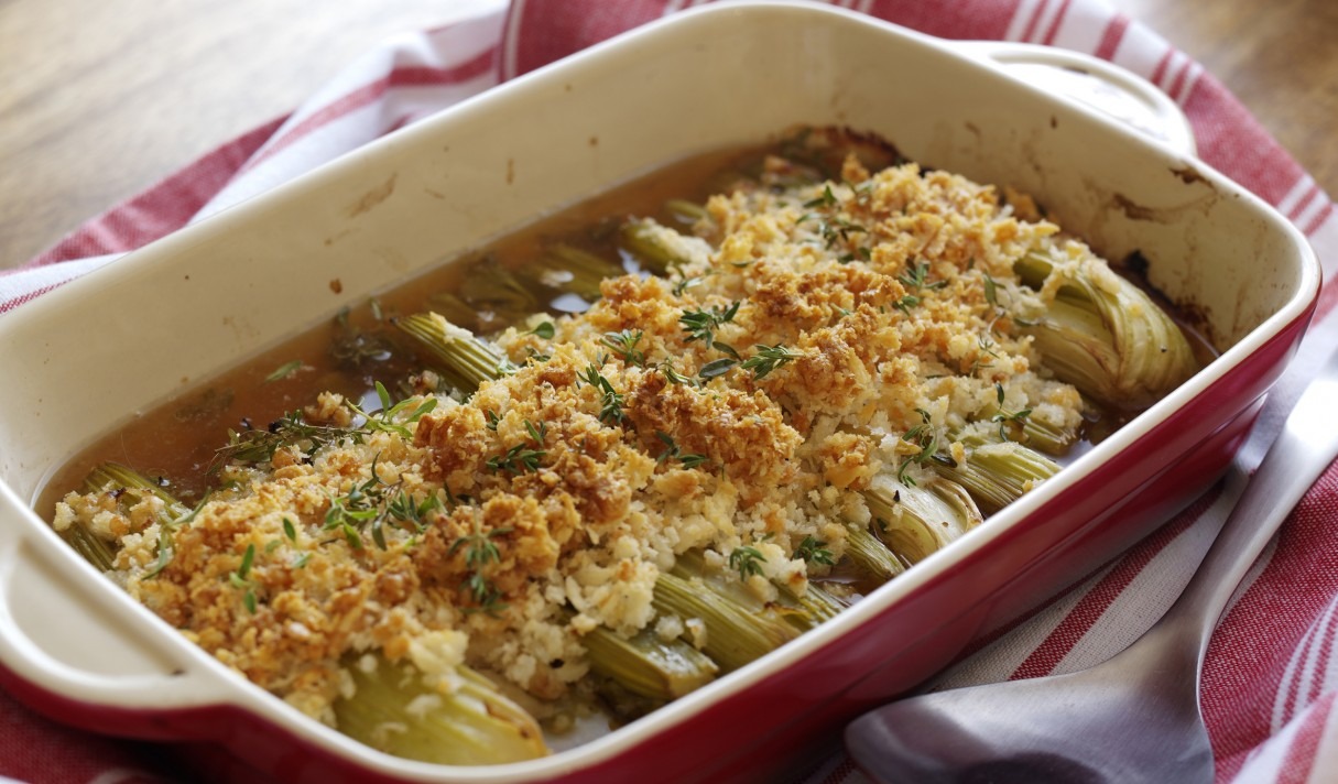 Cider glazed roasted celery with crispy Parmesan topping