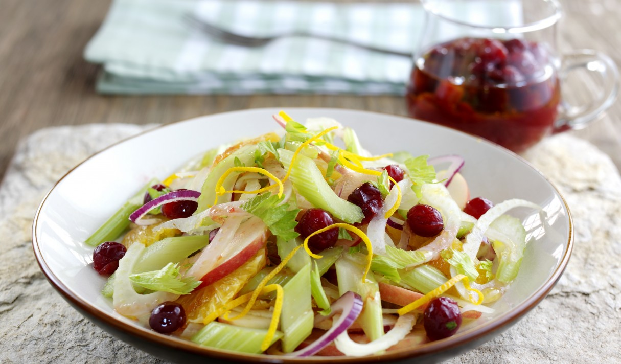 Crispy winter slaw - Fenland celery, cranberries, orange, fennel and onion in a maple and orange dressing