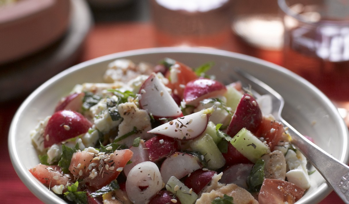 Lebanese Radish Fattoush salad with wine