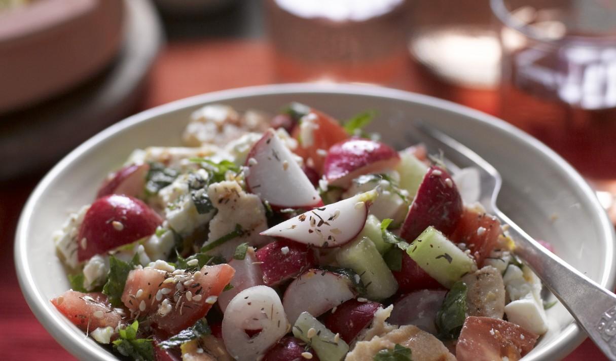 Lebanese Radish Fattoush salad with wine