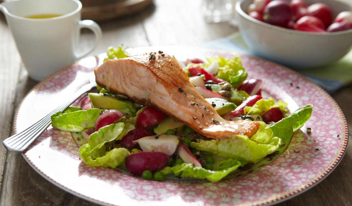 Lowri Turner's Pan-fried salmon with radish, avocado and pumpkin seed salad 3