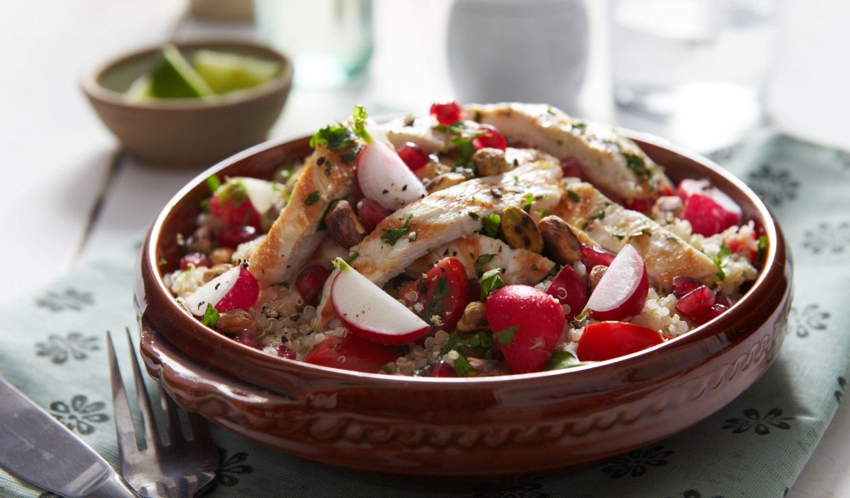 Lowri Turner's Radish and quinoa tabouleh with with pistachios and grilled, herbed chicken LANDSCAPE
