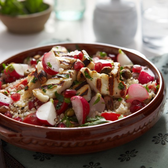 quinoa an d halloumi with radish recipe