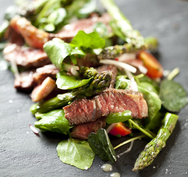 Marcus Bean¹s Beef and Asparagus Salad with Honey dressing, radishes and cherry tomatoes