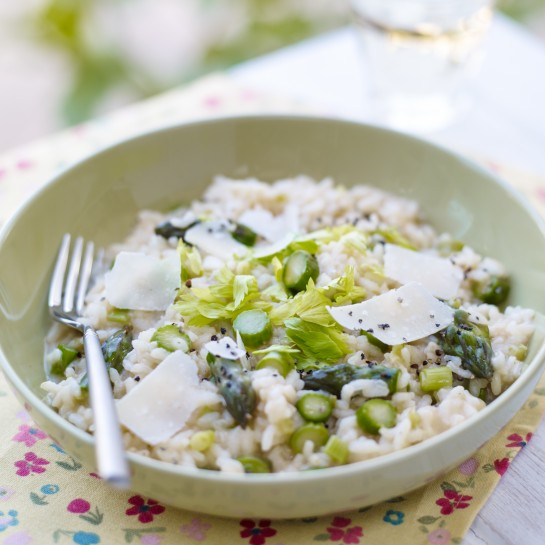 Spring onion and asparagus risotto