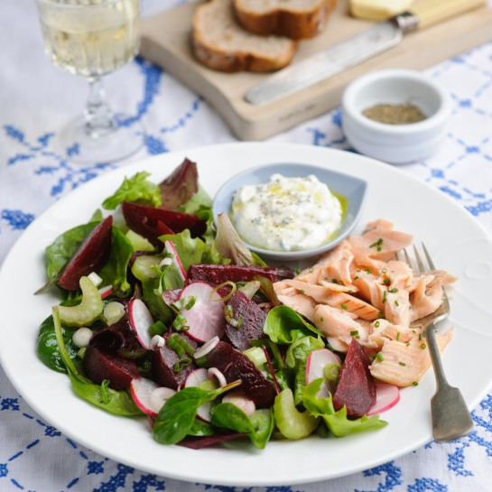 Summer Garden Salad with trout recipe