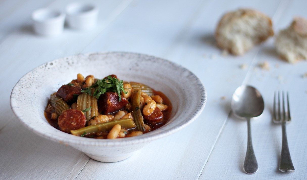Winter stew of Fenland celery, chorizo & cannellini beans